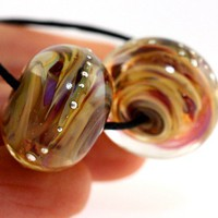 Handmade glass lampwork beads Casablanca Silver Rounds