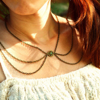 Peter Pan Collar Necklace Chain Necklace Bohemian Hipster Boho Emerald Bronze Charm Chain
