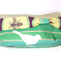 Striped Bird Clutch with Dragonfly Bow by PlatoSquirrel on Etsy