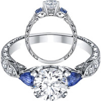 Diamond Engagement Ring Blue Sapphire Pear shape side stones engraved White Gold band