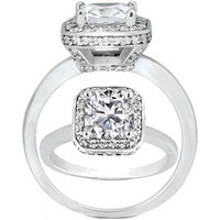 Cushion Diamond Double Halo Crown Engagement ring