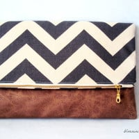 Hybrid Clutch - Fold Over Zippered Clutch - Grey Chevron with Brown Moleskin
