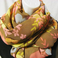 Brown, Pale Blue, Seafoam,Mint, Pink and Orange Floral Print Infinity Scarf