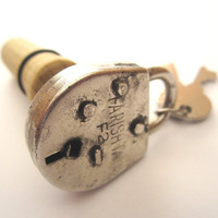 Lock It Up - Unique Shabby Chic Lock and Key Wine Stopper - Includes Box and FREE SHIPPING