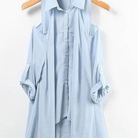 # Free Shipping # Asymmetry Blue Women Cotton Top One Size WO938452bl from ViwaFashion