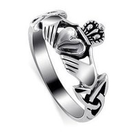 LWRS145-6 Nickel Free Sterling Silver Irish Claddagh Friendship and Love Polish Finish Band Ring Size 6