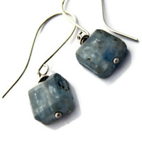 Kyanite Earrings Ice Blue Cubes Winter Fashion by LeafAndTendril