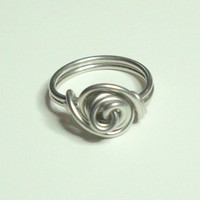 Love Knot Silver Wire Wrapped Ring