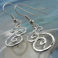 EARRINGS  Sterling Silver Spiral Swirl Earrings by FantaSeaJewelry
