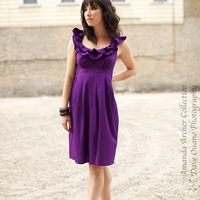 Poetic Ruffles Dress violet purple cotton by AmandaArcher on Etsy