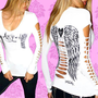 DEMI LOON DIY Sexy Tattoo Fallen Angel Wings Goth Raver Punk Slashed Top S/M/X/L