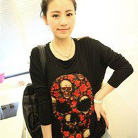 Korean Fashion T-SHIRT SKULL #1021 Lady Batwing Long Sleeve Casual Tee Tops