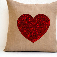Heart Burlap with Sequins pillow cover  16X16 inches cushion cover Valentine gift decor Easter decor st. patrick day