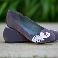 Grey Flats - Charcoal Grey Ballet Flats with White Lace. US Size 8