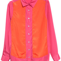 ROMWE | Color Block Rose Shirt, The Latest Street Fashion