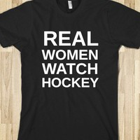 Real Women Watch Hockey-Unisex Black T-Shirt