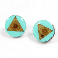 Aqua Triangle Painted Branch Post Earrings