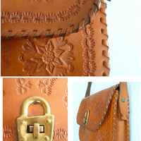Vintage leather shoulder bag, purse, caramel brown, hand tooled