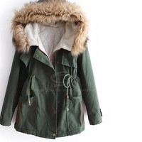 Genelia Drawstring Army Green Hooded Wadded Coat For Women