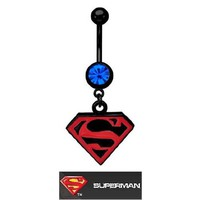 Officially Licensed Dc Comics Superman Super man Shield S Red & Black dangle Belly navel Ring piercing bar body jewelry 14g: Jewelry: Amazon.com