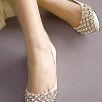OASAP - Sweet White Rhinestone Embellished Pointed-toe Snake Flats - Street Fashion Store
