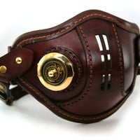 STEAMPUNK LEATHER Mask brown leather polished brass VNT Raider design