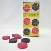 Vintage Checkers Set in a Box by Halsam 1950s Set by ItchforKitsch