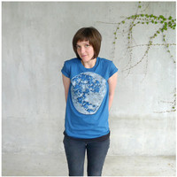 SALE - womens organic cotton tshirt - S-XL - full moon screenprint on American Apparel teal blue - My Moon, My Man - moon shirt