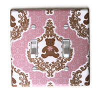 Teddy Bear Double Toggle Switch Plate in Pink