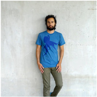 SALE - Mens tshirt - S/M/L - eco friendly fashion - octopus print on American Apparel teal blue organic cotton t shirt - Sucker for Ink