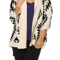 Amazon.com: Ivory Black Aztec Open Front Knit Cardigan Sweater Out Wear: Clothing