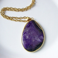 Amethyst Jade Gemstone Necklace in Gold Pendant