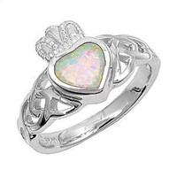 Bling Jewelry Sterling Silver Claddagh Opal Ring