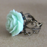 Mint Floral Rose Ring, Antique Filigree.