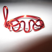 Free Shipping Red Love Ring Wire Wrapped Dainty Christmas Valentines Unique Gift