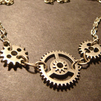 Steampunk Gear and Cog Necklace in Antique Silver (801)