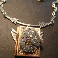 Steampunk Neo Victorian Watch Movement LOCKET Necklace with Wings (797)