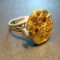 Steampunk Watch Movement Ring with Exposed Gears (795)