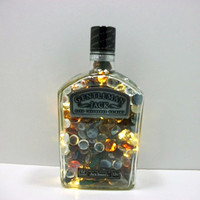 Liquor Bottle Lamp - Lighted Bottles - Recycled Liquor Bottle