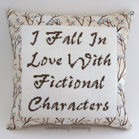 Funny Cross Stitch Pillow, Brown Pillow, Fictional Characters Quote