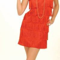 Womens Sexy Adult 1920s Costume 20s Dancer Flapper Girl Party Outfit Red Fringe Dress
