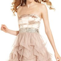 Speechless Strapless Satin Dress from University