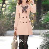 Fall Coats with Scarf  - Light Beige