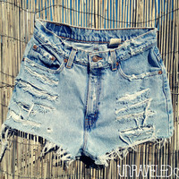 High Wasted Jean Shorts (SMALL)