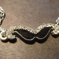 Cute Silver Tone Black Mustache Necklace with Tiny Rhinestones (806)