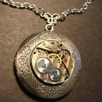 Steampunk Neo Victorian Watch Movement LOCKET Necklace  (810)