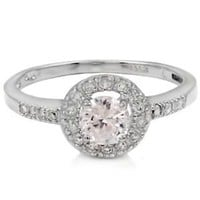Halo ring size 5 6 7 8 9 CZ Sterling Silver Engagement Solitaire Wedding Promise Trendy Hot Ladies 925