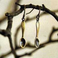 Little Brass Teaspoon Earrings - $11.50 : RagTraderVintage.com, Handmade Indie Retro Accessories