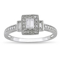 10k White Gold 1/3ct TDW Diamond Engagement Ring (H-I, I1-I2) | Overstock.com