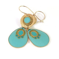 Turquoise earrings, Gold Earrings, Dangle, turquoise Drop hanging from a gold disk,  sparkle earrings, lightweight earrings